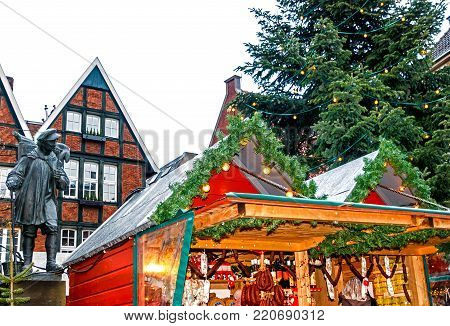 Small Christmas Market in Münster is one of five distinct markets scattered across the Altstadt with a wide selection of crafts and special delicacies, Germany