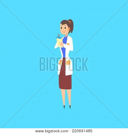 Female scientist, doctor or engineer cartoon character in white coat taking notes vector Illustration vector illustration on a light blue background