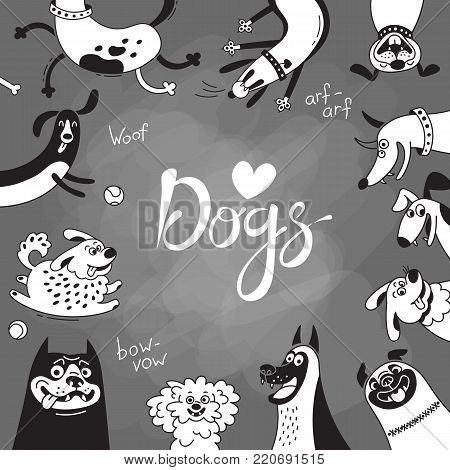 Card with joyful dogs and happy puppies. Vector background with mongrels, sheepdog, dachshund, lap-dog and others breeds.
