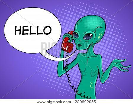 Alien speaking phone pop art retro vector illustration. Contact with extraterrestrial organisms metaphor. Comic book style imitation.