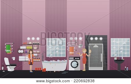 Vector illustration of spa bathroom interior with furniture and toiletries, women taking aroma baths at home. Flat style design.