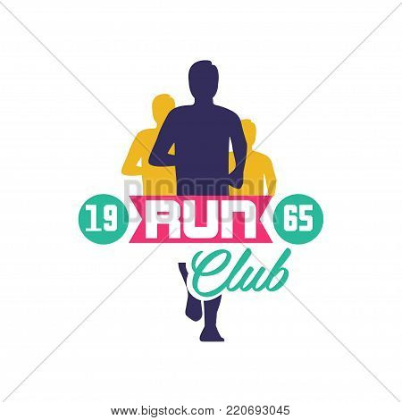 Run club logo estd 1965, emblem with abstract running people silhouettes, label for sports club, sport tournament, competition, marathon and healthy lifestyle vector illustration on a white background