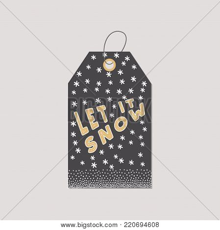 Vintage hand drawn calligraphy.Let it snow quote with snowflakes. Hand drawn lettering Christmas, new year design. Typography gift card. Stock vector isolate