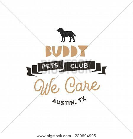 Buddy, pet club logo template silhouette label illustration isolated on white background. Modern animal badge for veterinary clinic, pet food. Animal typography logotype. Stock vector.