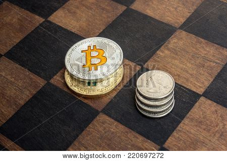 Bitcoins and American cents on a chessboard