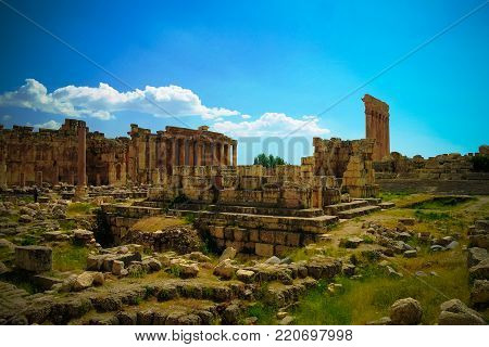 Ruins of Jupiter and Bacchus temples and great court of Heliopolis in Baalbek at Bekaa valley Lebanon