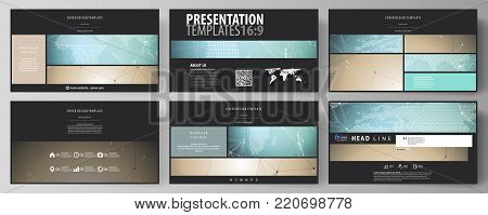 The black colored minimalistic vector illustration of the editable layout of high definition presentation slides design templates. Chemistry pattern with molecule structure. Medical DNA research