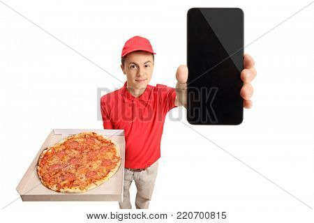 Teenage pizza delivery boy showing a phone isolated on white background