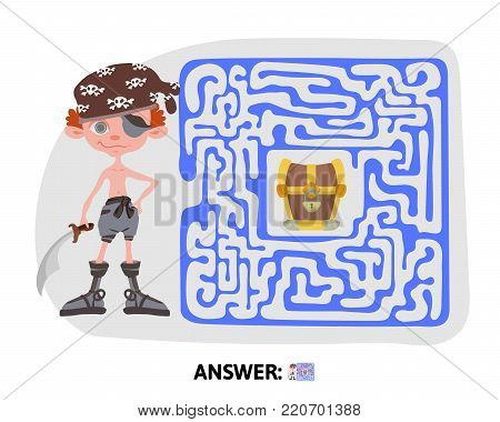 Children's maze. Pirate treasure map. Cute puzzle game for kids with answer, vector illustration.