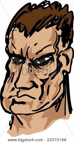 Tough, brutish, square-jawed rough mean looking guy, hand-drawn vector  illustration