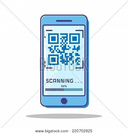 Flat Scan QR code with blue Mobile phone.