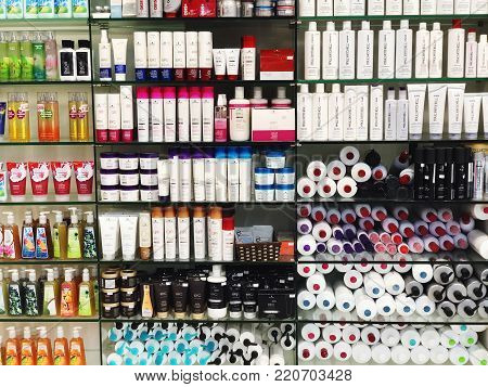 RISHON LE ZION, ISRAEL- DECEMBER 29, 2017: Skincare and cosmetic products on display in a department store. Skincare and makeup products are the largest part of cosmetic market in the world.