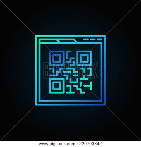 Webpage blue Qr code vector linear icon or logo element on dark background