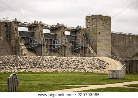 Mt. Sterling, Ohio, USA - June 3, 2015: The Deer Creek Dam at Deer Creek State Park creates a large reservoir which is popular with outdoor enthusiasts and the centerpiece of Deer Creek State Park.
