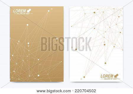 Modern vector template for brochure, Leaflet, flyer, advert, cover, catalog, magazine or annual report. Geometric pattern with connected lines and dots. Cybernetic dots. Lines plexus. Card surface.