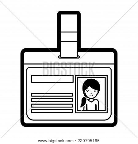 identification card with half body woman picture with pigtail hairstyle in black silhouette with thick contour vector illustration