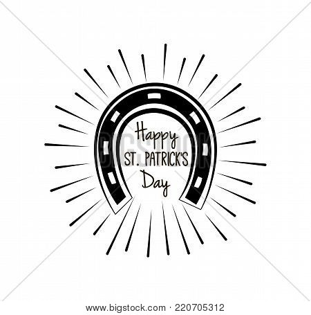 Happy Saint Patrick s Day horse shoe. vector illustration isolated on white background