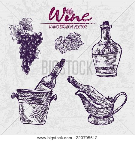 Digital Color Vector Detailed Line Art Vintage Wine Pouring From Bottle To Glass Stacked And Corkscrew Hand Drawn Illustration Set Thin Artistic Outline