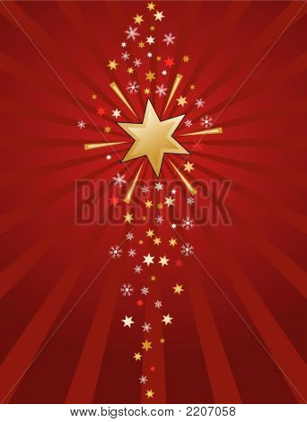 Gold Stars On Red.Eps