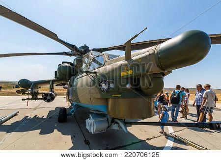 KADAMOVSKIY TRAINING GROUND, ROSTOV REGION, RUSSIA, 26 AUGUST 2017: International military technical forum «ARMY-2017». Attack helicopter «Mi-28N» «Night Hunter»