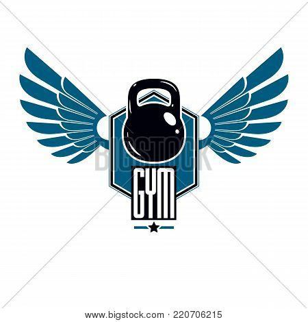Bodybuilding and fitness sport logo templates, winged retro stylized vector emblem or badge. With kettlebell.