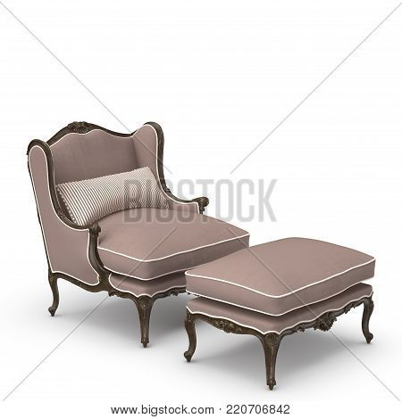 Chair and Ottoman Chelini Nero. This image is a 3D model rendering.