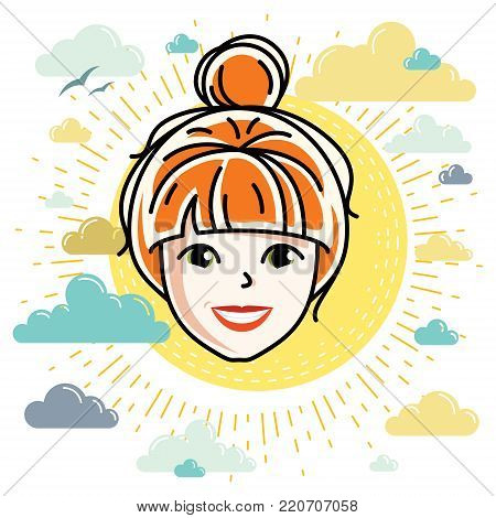 Vector illustration of beautiful red-haired female face, positive face features, clipart.