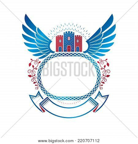 Ancient Citadel emblem. Heraldic vector design element with blue wings. Retro style label, heraldry logo composed with historic stronghold and decorative ribbon.