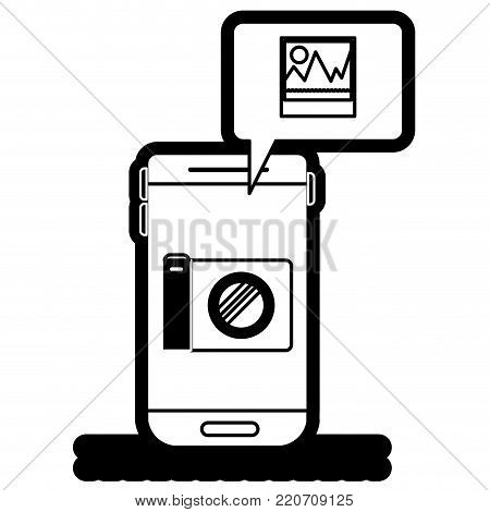 smartphone photo app and dialogue box in black silhouette with thick contour vector illustration