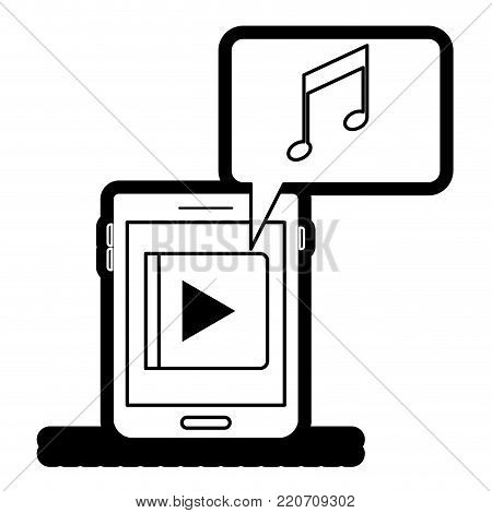 tablet device music app and dialogue box in black silhouette with thick contour vector illustration