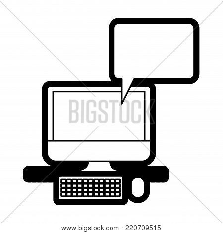 desktop computer with bubble dialogue in black silhouette with thick contour vector illustration