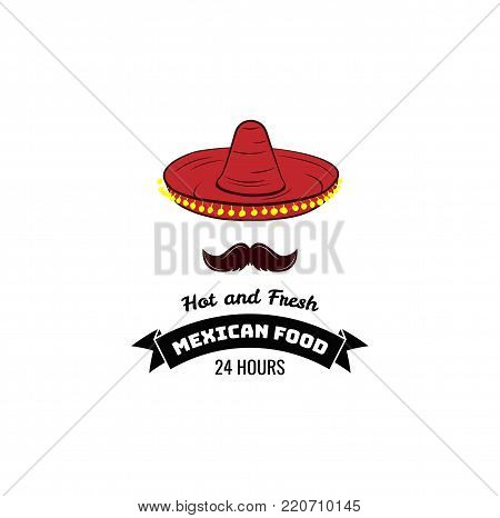 Mexican spicy and hot traditional food icon. Badge for mexican fast food or mexican restaurant menu. Vector emblem with sombrero hat.