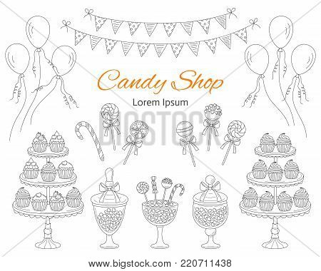 Vector illustration of candy shop with sweets, candies in glass jars, lollipops, sweetmeats, candy cane, cupcakes, air balloons and bunting flags. Hand drawn doodle illustration.