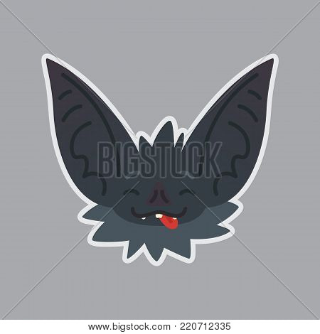 Bat sticker. Emoji. Vector illustration of cute Halloween bat vampire shows joyful emotion. Isolated emoticon icon with sublayer. Bat-eared grey creature s snout with tongue. Print design. Badge. Joke.
