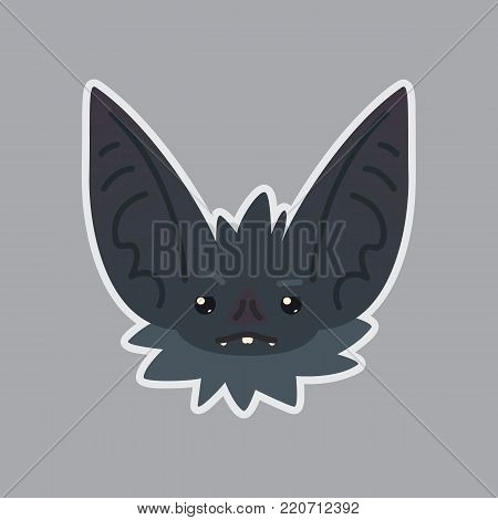 Bat sticker. Emoji. Vector illustration of cute Halloween bat vampire shows distrust emotion. Suspicious. Isolated emoticon icon with sublayer. Bat-eared grey creature s snout. Print design. Badge. Skeptical.