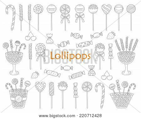 Lollipop set vector hand drawn doodle illustration. Different types of sweets, candies, lollipops, sweetmeats, glass candy jars, isolated on white background.
