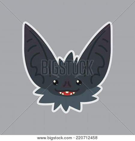 Bat sticker. Emoji. Vector illustration of cute Halloween bat vampire shows tricky emotion. Evil. Isolated emoticon icon with sublayer. Bat-eared grey creature s snout. Print design. Badge. Incidious.