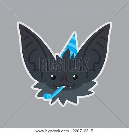 Bat sticker. Emoji. Vector illustration of cute Halloween bat vampire shows holiday emotion. Celebrating. Isolated emoticon icon with sublayer. Bat-eared grey creature s snout. Print design. Badge. Birthday.