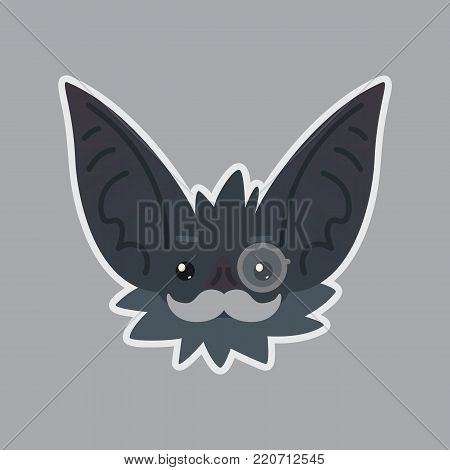 Bat sticker. Emoji. Vector illustration of cute Halloween bat vampire shows intellectual emotion. Mister in monocle with moustache. Isolated emoticon icon with sublayer. Bat-eared grey creature s snout. Print design. Badge.