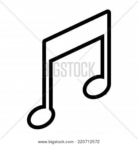 musical note icon in black silhouette with thick contour vector illustration