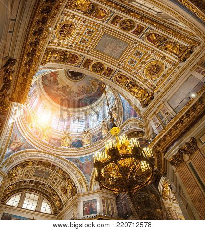 ST PETERSBURG, RUSSIA - AUGUST 15, 2017. Interior of the St Isaac Cathedral in St Petersburg, Russia. Detailed inside view of St Petersburg Russia landmark
