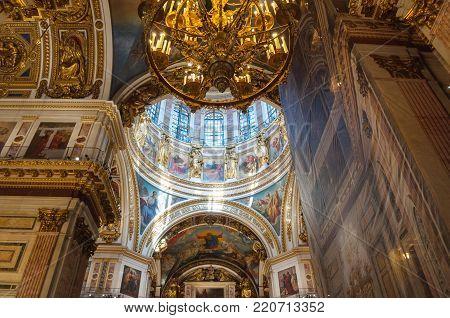 SAINT PETERSBURG, RUSSIA - AUGUST 15, 2017. Interior of the St Isaac Cathedral in Saint Petersburg, Russia. Inside view of Saint Petersburg landmark
