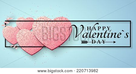 Romantic greeting card for Valentines Day. Pink hearts of glitters. Luxury card for Valentines day. Pink ribbons. Romantic luxurious banner. Black frame with white text. Vector illustration.