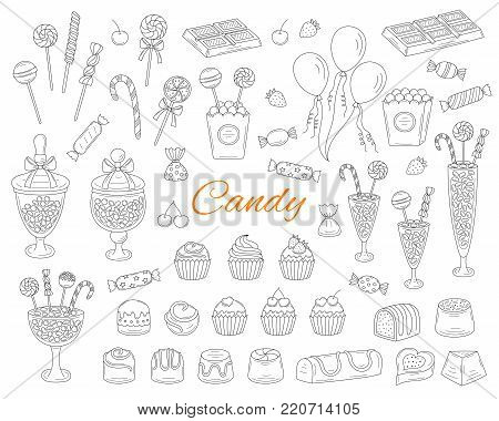 Candy set vector hand drawn doodle illustration. Different types of sweets, candies, lollipops, sweetmeats, chocolates, glass candy jars, isolated on white background.