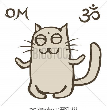 Cartoon cat sits immersed in nirvana. Om sign and symbol. Vector illustration. Cute pet character