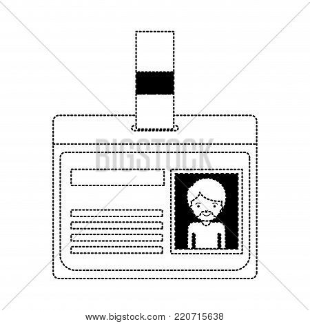 identification card with half body man picture with short hair and van dyke beard in black dotted silhouette vector illustration