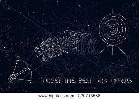 targeting the best job offers conceptual illustration: target and arrow with job offer and shortlist in between