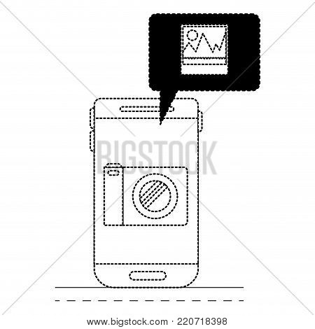 smartphone photo app and dialogue box in black dotted silhouette vector illustration