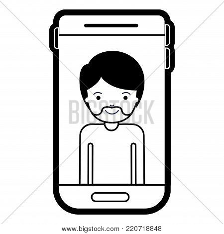 smartphone man profile picture with short hair and van dyke beard in black silhouette with thick contour vector illustration