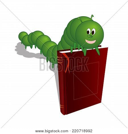 Caterpillar on the book, vector art illustration of a bookworm.